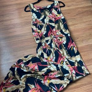 Tommy Bahama maxi tropical dress black and coral M